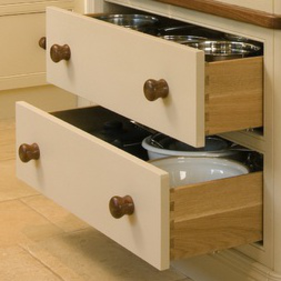 Hand Painted Freestanding Kitchen Larder Solid Oak Dovetailed Drawers