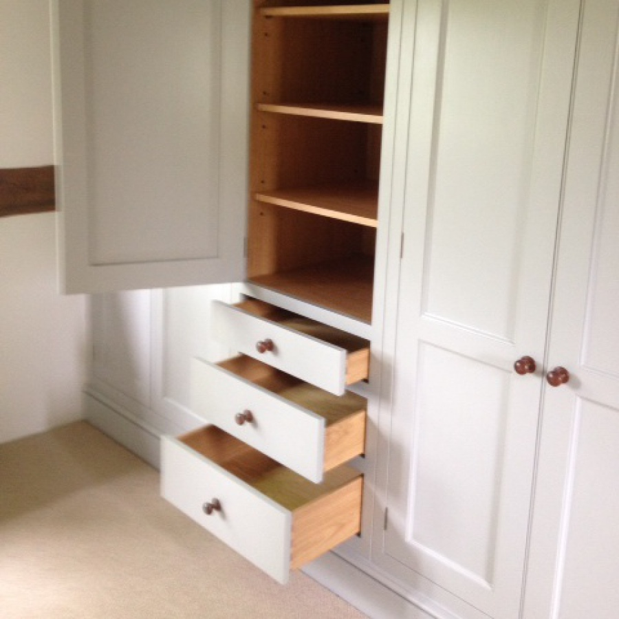 Hand Painted Fitted Wardrobe - Doors and Drawers Open
