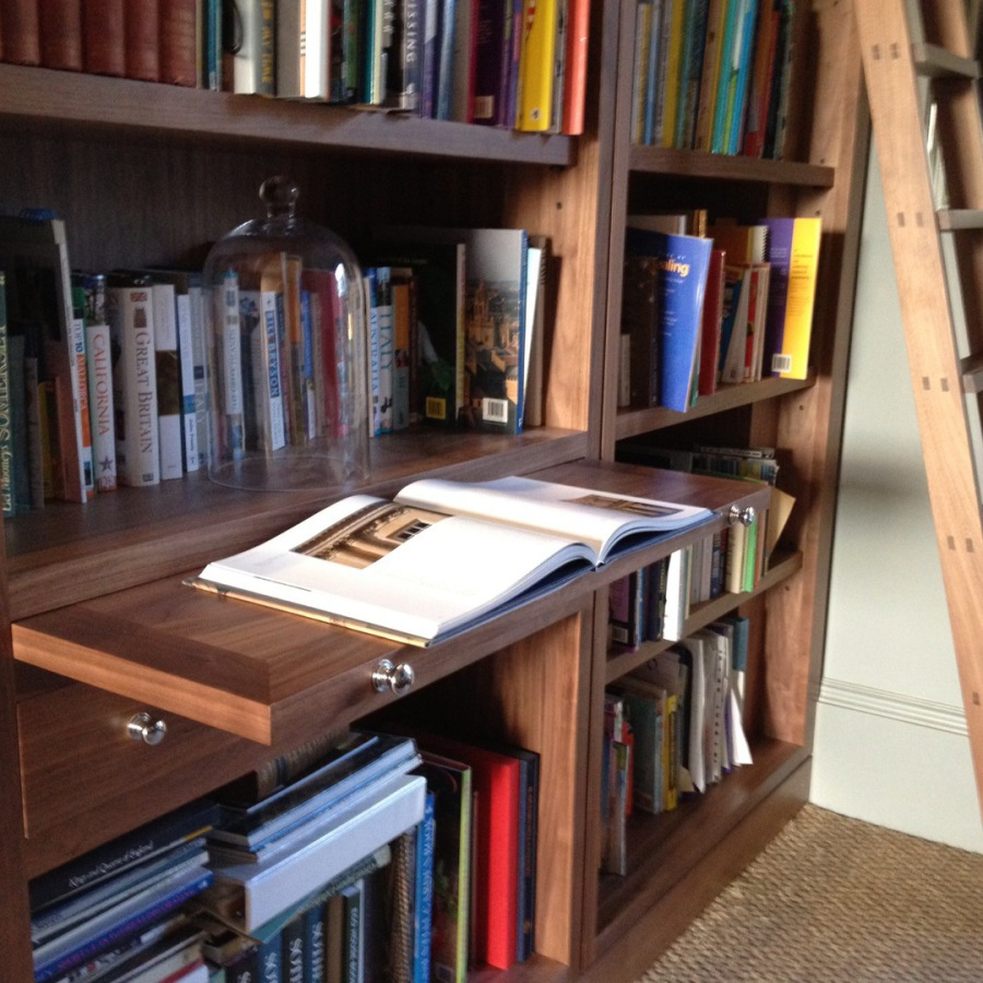 Polished Walnut Pull Out Reading Shelf and Library Ladder