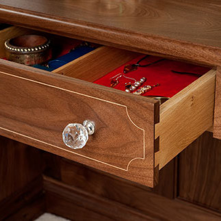 Velvet Lined Jewellery Drawer, Walnut Dressing Table