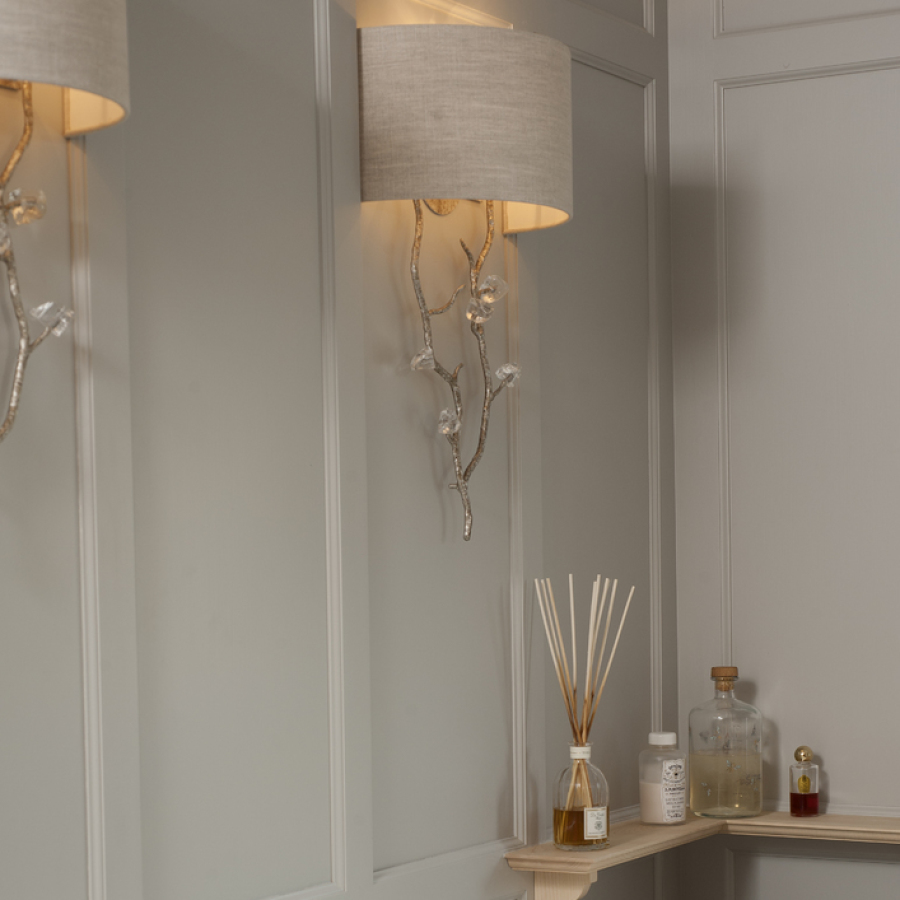 Wall Panelled Bathroom with Custom Porta Romana Lights