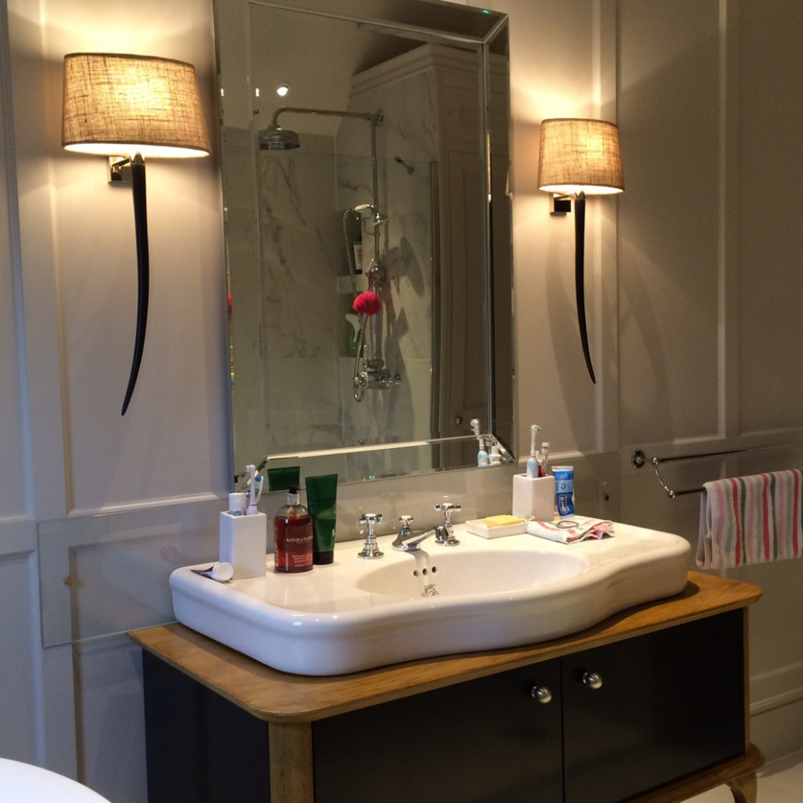 Private Commissioned Vanity Unit and Bathroom Wall Panelling - Porta Romana Lights