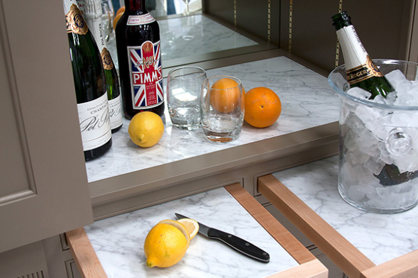 Drinks Cabinet Inset Marble Prep Area